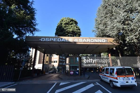 An ambulance arrives at the Saranno hospital on December 2 2016 in the north of Italy Italian police seized over 50 medical records in relation to a...