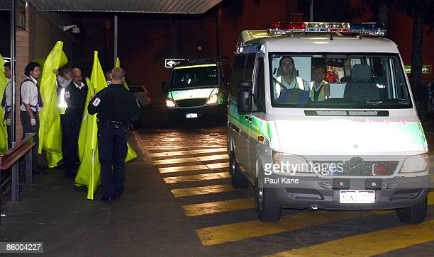 An ambulance arrives carrying a casualty into the emergency ward at Royal Perth hospital after a medical evacuation flight from Broome on April 17...