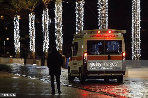 An ambulance arrives with injured at the Antonio Perrino hospital in Brindisi southern Italy on its way to join rescue operations of burning ferry...