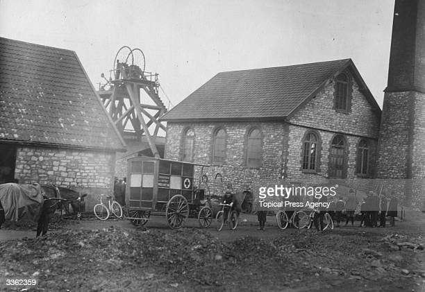 An ambulance at the pithead awaits the injured from the Radstock Colliery disaster in south west England