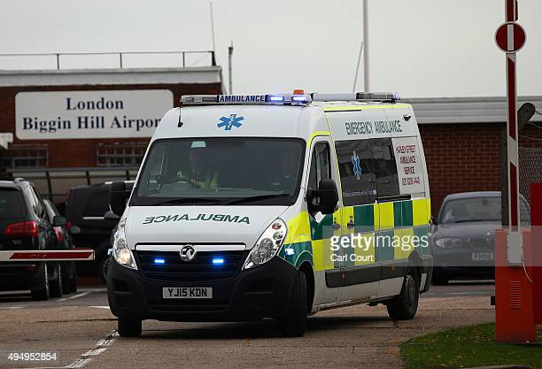 An ambulance believed to be carrying Shaker Aamer the last UK Guantanamo Bay detainee to be released leaves Biggin Hill Airport on October 30 2015 in...