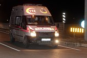 An ambulance carrying wounded Syrian opponents is seen as they arrive near Hatay Airport in Hatay Turkey on December 28 2015 In AlZabadani a rural...