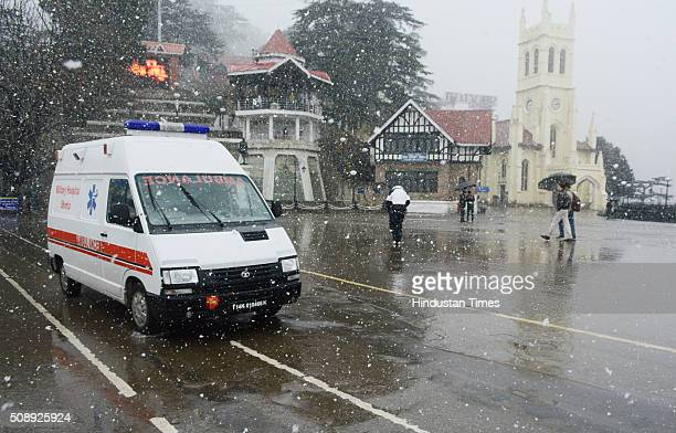 An ambulance crossing on the ridge during the first heavy snowfall on February 7 2016 in Shimla India Shimla town received 18 cm of snow while Kufri...
