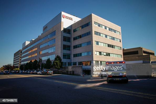 An ambulance exits from University Hospital in Newark where Nurse Kaci Hickox is quarantined October 27 2014 in Newark New Jersey Hickox an...