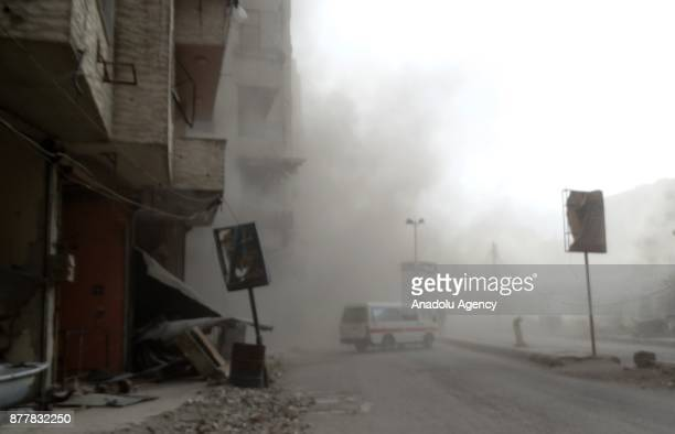An ambulance is dispatched after Assad regime's warcrafts carried out airstrikes over the deescalation zone of Ein Tarma suburb of the Eastern Ghouta...