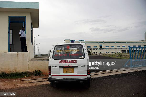 An ambulance is seen at the entrance of a factory operated by Taiwanbased IT giant Foxconn at Sriperumpudur in the outskirts of Chennai on July 27...