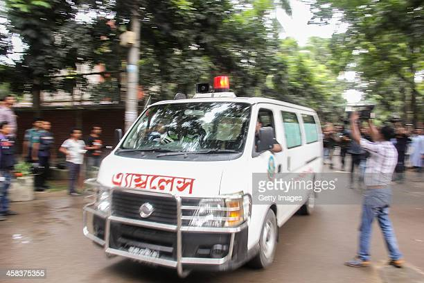 An ambulance is seen leaving after a joint drive of the military paramilitary Border Guard Bangladesh police and elite force Rapid Action Battalion...