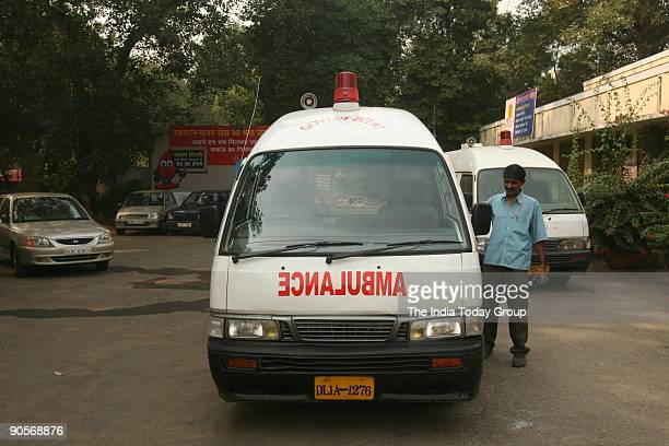 An ambulance of Centralised Accident and Trauma Services in New Delhi