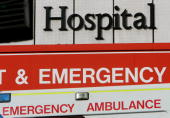 An ambulance parked outside the Accident Emergency department at a London Hospital on September 26 2007 in London England PM Gordon Brown has...