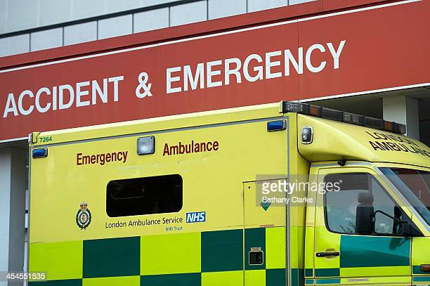 An ambulance sits outside St Thomas' Hospital on December 9 2013 in London England Some patients taken by ambulance to AE departments are waiting in...