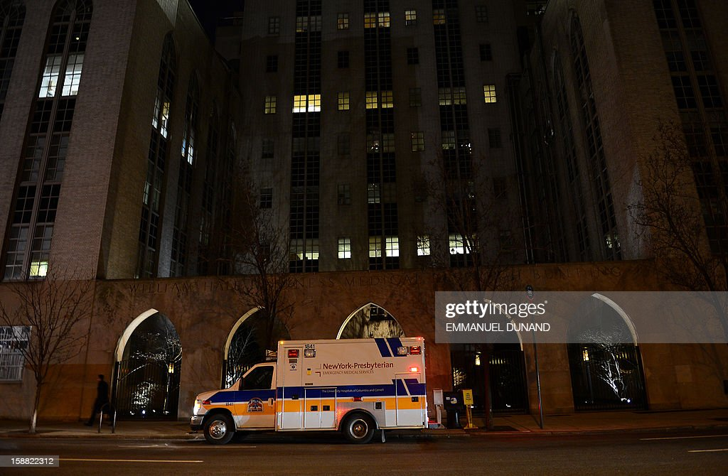 An ambulance stands in front of New York Presbyterian Hospital in New York, December, 30, 2012. US Secretary of State Hillary Clinton has been hospitalized after suffering a blood clot following an accident earlier this month, her senior State Department aide Philippe Reines said Sunday. She reportedly is being treated with anti-coagulants at New York Presbyterian Hospital where she is expected to stay for the next 48 hours.