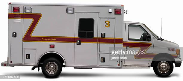 An ambulance truck stands alone on a white background