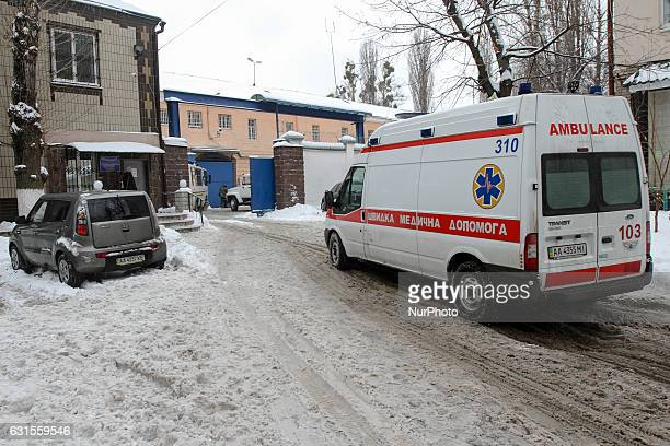 An Ambulance vehicle is seen as it drives in the yard of a Lukyanivske PTDC where a prisoner cut his ear to protest overnight into January 12 2017 in...
