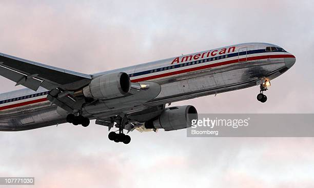 An American Airlines Boeing 767 jet prepares to land at O'Hare International Airport in Chicago Illinois US on Wednesday Dec 22 2010 US air carriers...