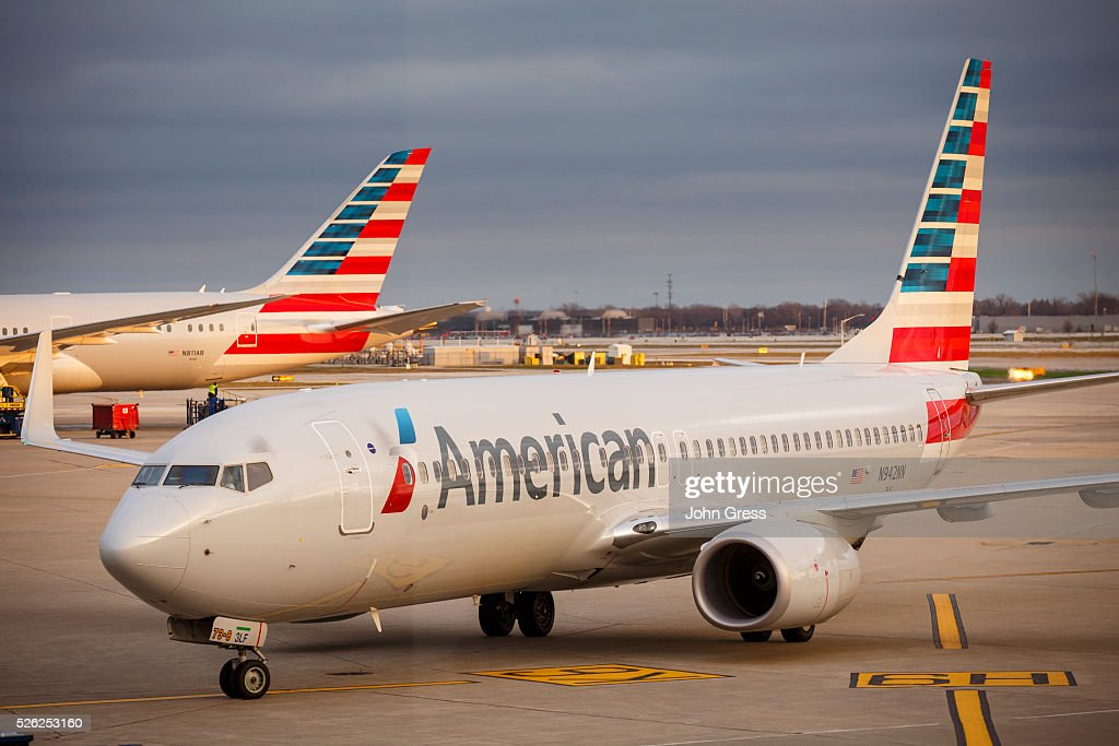 An American Airlines plane heads to the gate at Chicago's O'Hare International Airport on Christmas day December 25 2015