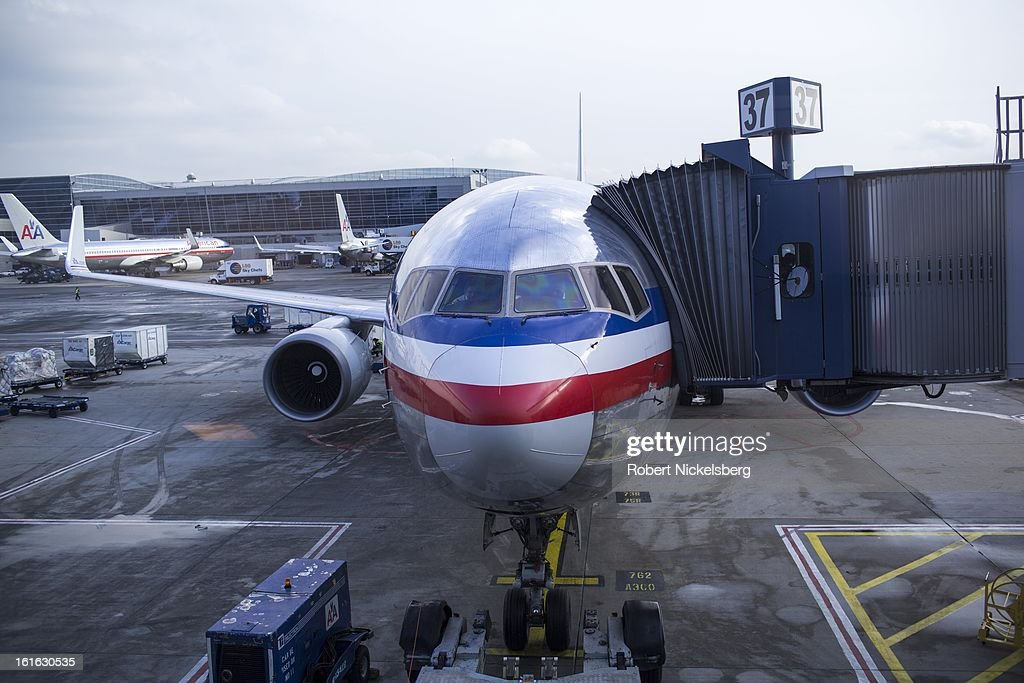 An American Airlines plane waits to depart February 3, 2013 from John F. Kennedy International Airport in the Queens borough of New York.