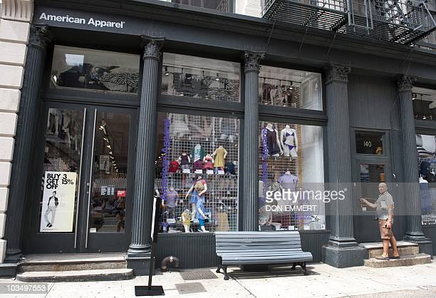 An American Apparel store front is seen in lower Manhattan August 18 2010 in New York The stock of the trendy Los Angeles clothing maker and retailer...