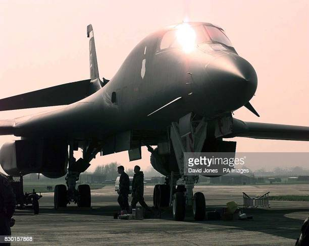 An American B1 bomber of the 77th Bomber squadron at RAF Fairford in Gloucestershire The bomber flew in earlier in the day from South Dakota * Kosovo...