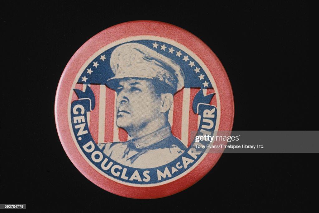 An American badge featuring US General Douglas MacArthur, circa 1945.