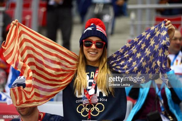 An American fan attends the Men's Ice Hockey Preliminary Round Group A game between Russia and the United States on day eight of the Sochi 2014...