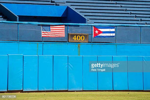 An American flag and Cuban flag are seen in Estadio Latinoamericano during an MLB goodwill tour on Tuesday December 16 2015 in Havana Cuba