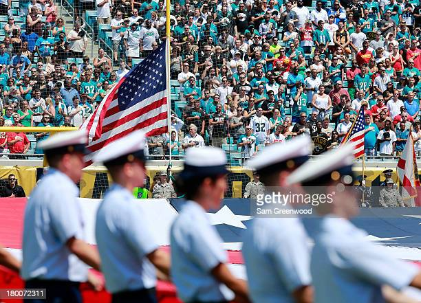 An American flag as seen prior to the game between the Jacksonville Jaguars and the Kansas City Chiefs at EverBank Field on September 8 2013 in...