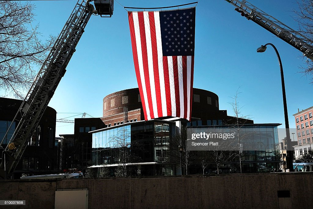 An American Flag flies near the site of the Republican Presidential debate on February 13, 2016 in Greenville, South Carolina. This evenings debate will see the six remaining candidates go at each other in a state known to reward more conservative candidates.