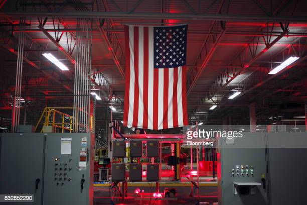 An American flag is displayed inside the DHL Worldwide Express hub of Cincinnati/Northern Kentucky International Airport in Hebron Kentucky US on...