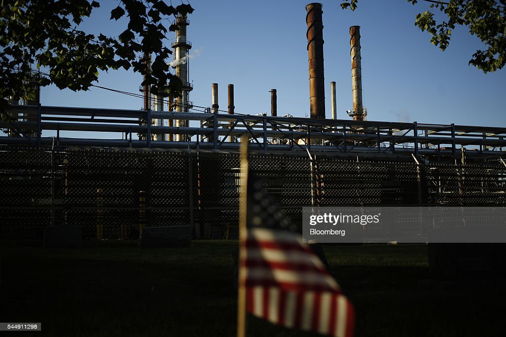 An American flag is displayed outside of the PBF Energy Inc Toledo Refining Company facility in Oregon Ohio US on Thursday June 30 2016 PBF Energy an...