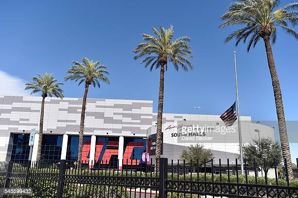 An American flag is flown at halfstaff honoring the fallen Dallas police officers at the UFC Fan Expo at the Las Vegas Convention Center on July 8...