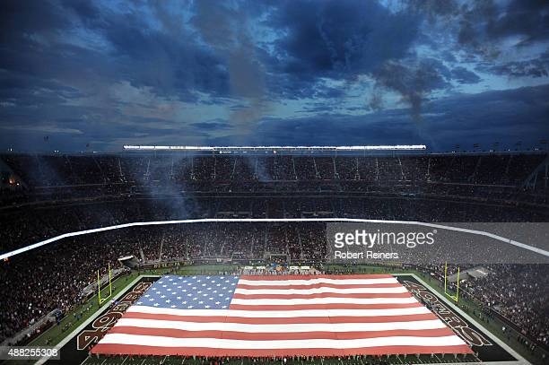 An american flag is seen on the field prior to the San Francisco 49ers and the Minnesota Vikings playing their NFL game at Levi's Stadium on...