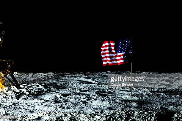 An American flag on the surface of the moon