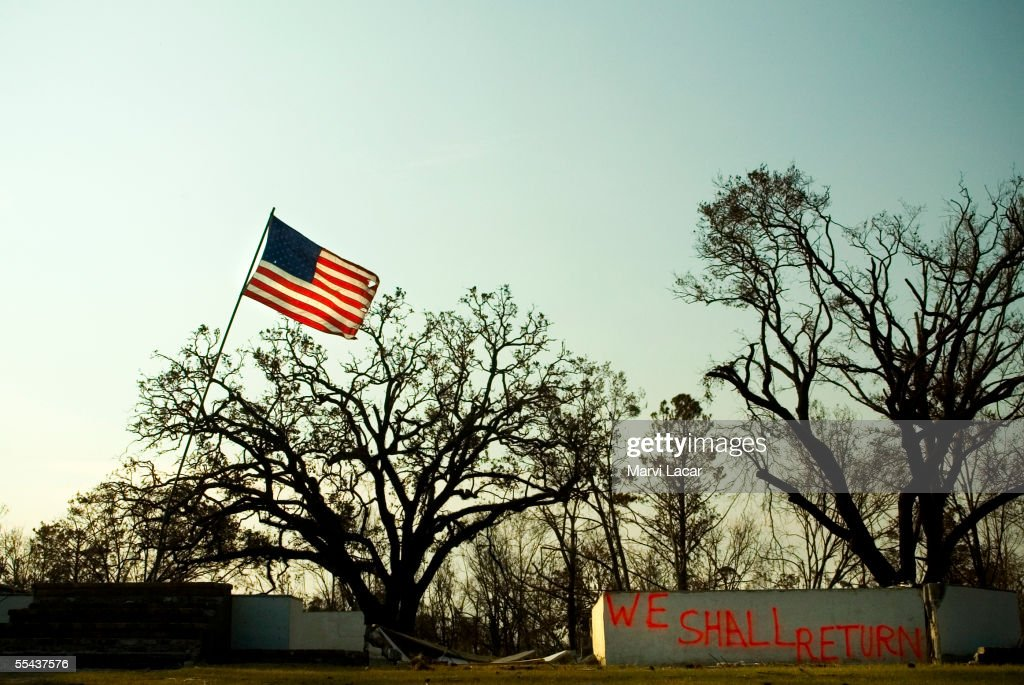 An American flag was erected amidst the rubble by local residents on September 3 2005 in Waveland Mississippi Hurricane Katrina's category 5 strength...