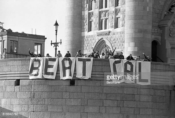 An American football rivalry reaches the banks of the Thames 11/19 as students from the Stanford University program in Britain hang the sign BEAT CAL...
