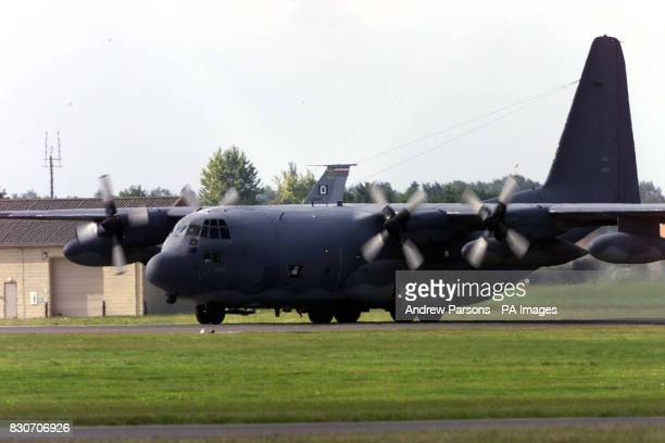 An American Hercules prepares to leave RAF Mildenhall Suffolk in the wake of last Tuesday's terrorist attacks on the World Trade Center in New York...