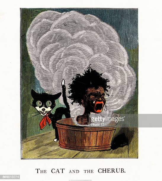 An American illustration of a cat next to an africanamerican boy crying out loud in a steaming bath tub 1870
