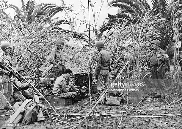 An American infantry unit with a radio station camp near to a cane field on the Tunisian front Fedala November 1942