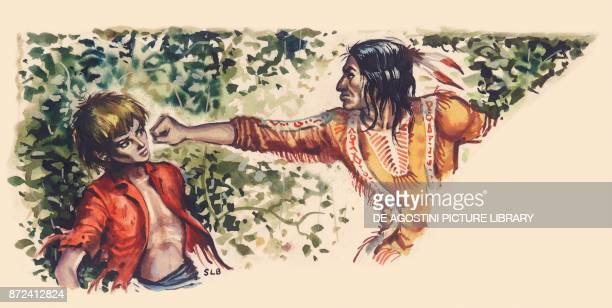 An American native trying to punch a young pioneer Old West North America drawing