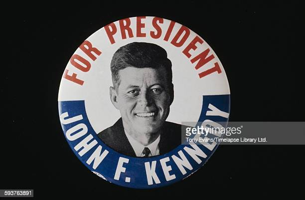 An American presidential election badge for Democratic candidate John F Kennedy 1960