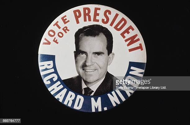 An American presidential election badge for Republican candidate Richard Nixon circa 1968