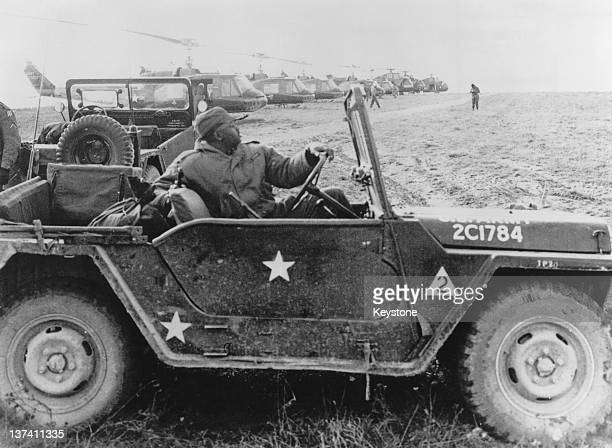 An American soldier in a jeep during NATO exercises in Grafenwohr Bavaria West Germany 4th October 1963
