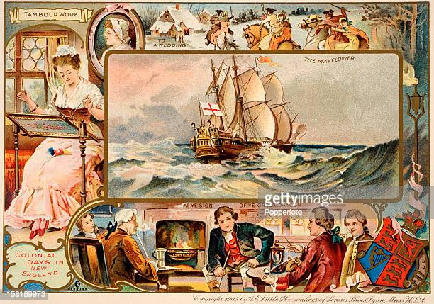 An American trade card produced by Sorosis Shoes in Massachussetts depicting the Mayflower and colonial days in New England USA published circa 1895