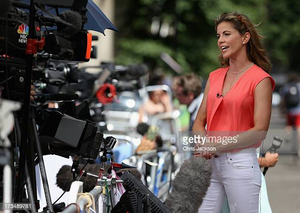 An American TV anchor broadcasts outside the Lindo wing of St Mary's Hospital as the UK prepares for the birth of the first child of The Duke and...