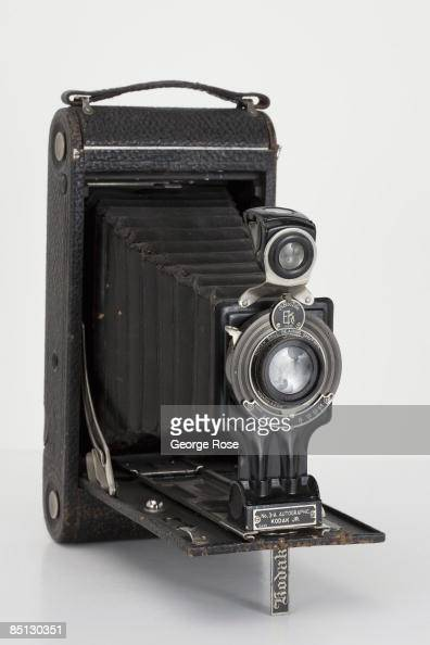 An Americanmade Eastman Kodak Junior Autographic No 3A folding film camera is seen in this 2009 Healdsburg California studio photo