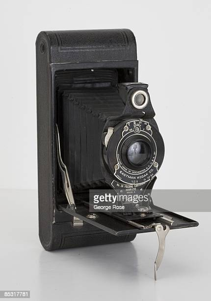An Americanmade Eastman Kodak No 2A Folding Cartridge HawkEye Model B camera is seen in this 2009 Healdsburg California studio photo