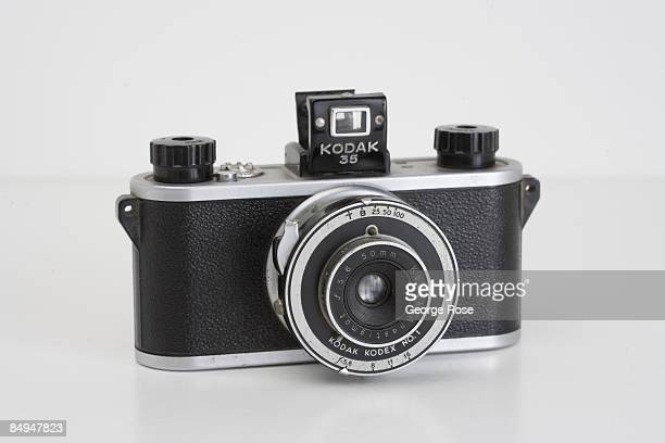 An Americanmade Kodak '35' 35mm rangefinder roll film camera with a Kodex 50mm f56 lens is seen in this 2009 Healdsburg California studio photo This...