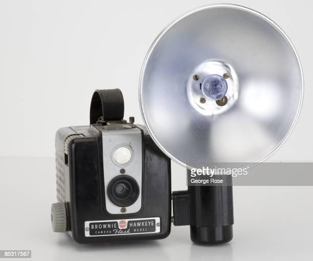 An Americanmade Kodak Brownie 'Hawkeye' Flash Model roll film rangefinder camera with flash attachment seen in this 2009 Healdsburg California studio...