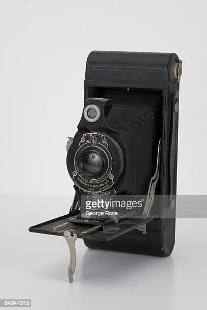 An Americanmade Kodak HawkEye 'Model B No 2A Folding Cartridge' 120mm film camera is seen in this 2009 Healdsburg California studio photo