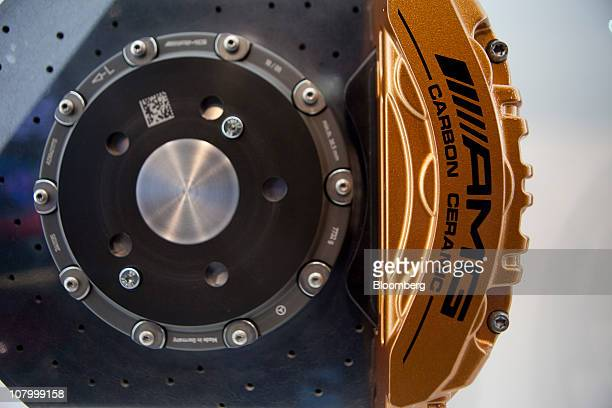 An AMG brake pad for a Daimler AG MercedesBenz vehicle is displayed at the North American International Auto Show in Detroit Michigan US on Tuesday...