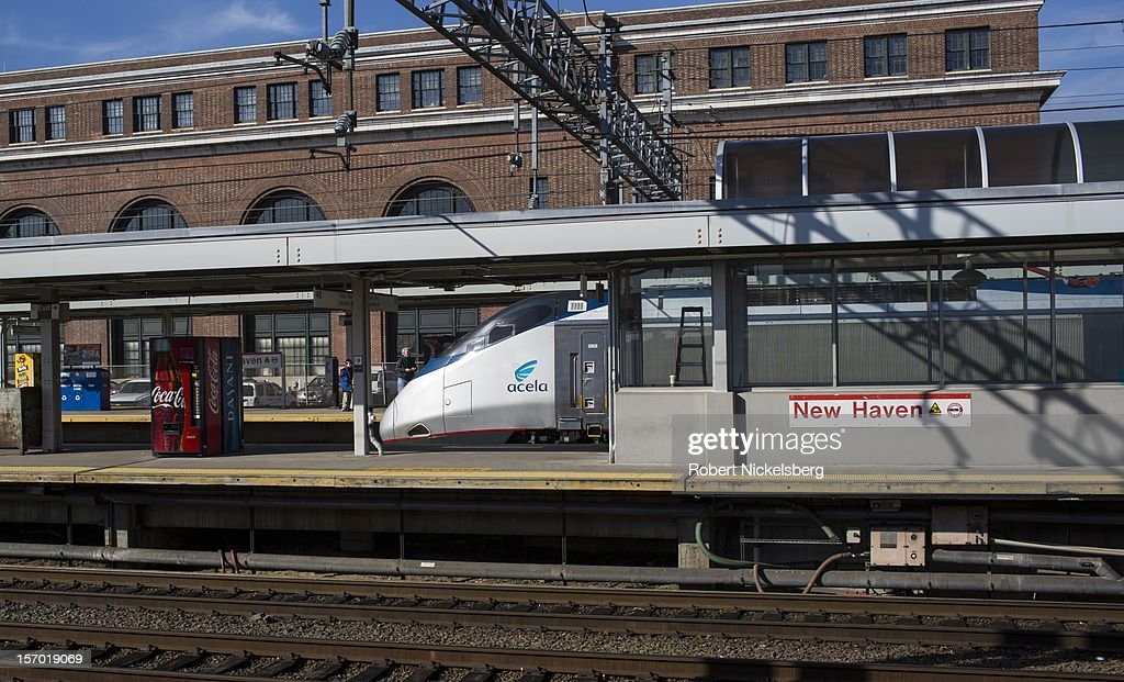 An Amtrak Acela express train on November 23, 2012 heads to Washington, DC's Union Station in New Haven, Connecticut.